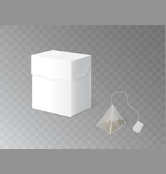 herbal tea packaging 3d realistic mockup vector image
