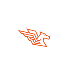 horse red pegasus logo vector image