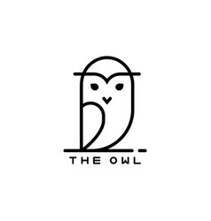 Icon or owl logo in thin line style vector