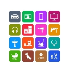 Icons of products categories White and color vector