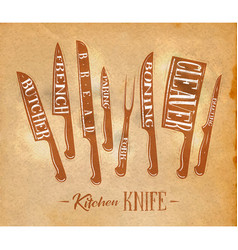 Kitchen meat cutting knifes poster craft vector