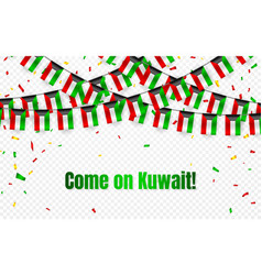 Kuwait garland flag with confetti on transparent vector
