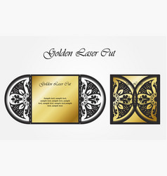 Laser cutting template of cover golden openwork vector