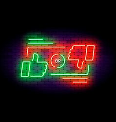 like or dislike neon on dark vector image