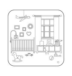 Line interior of baby room vector image