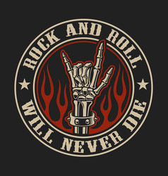 Logo with rock hand sign in fire on dark vector