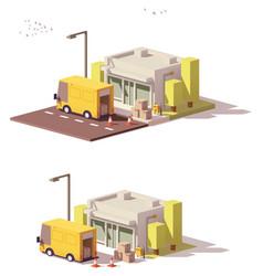 Low poly shop icon vector