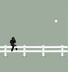 Man sitting on fence artwork concept of vector