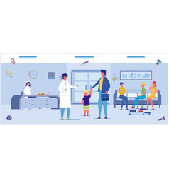 Medical clinic interior background with people vector