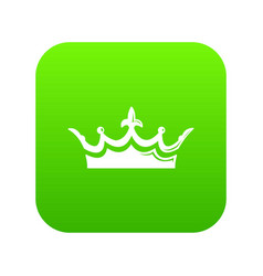 medieval crown icon green vector image