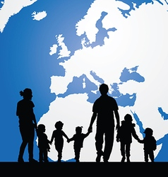 migration family with children and map in vector image