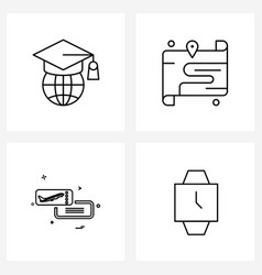 Modern style set 4 line pictograph grid based vector