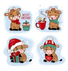 New year bull merry christmas cartoon vector
