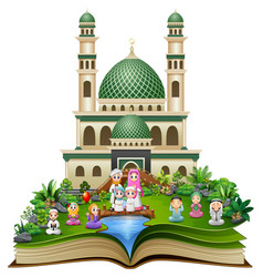 open book with happy muslim family in front of a m vector image