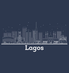 Outline lagos nigeria city skyline with white vector