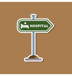 Paper sticker on stylish background hospital sign vector