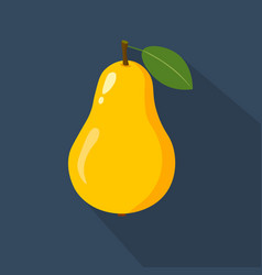 pear cartoon flat icondark blue background vector image