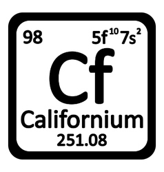 Periodic table element californium icon vector image