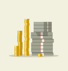 piles dollars and coins vector image