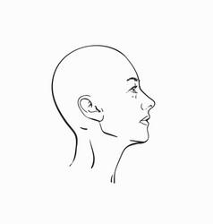 Portrait bald headed woman in profile hand vector