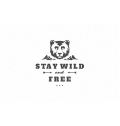 Quote typography with hand drawn angry bear head vector