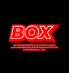 Red bold 3d with line alphabet text effect vector