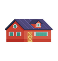 red country house rural cottage facade cartoon vector image