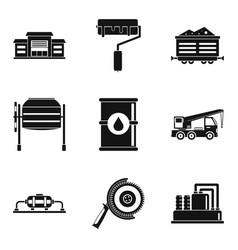 Repair of the structure icons set simple style vector