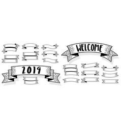 Retro styled engraving ribbons vector
