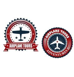 Round Airplane tours banners vector
