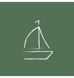 Sailboat icon drawn in chalk vector image