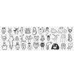 scary cartoon characters hand drawn doodle set vector image