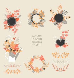 Set autumn floral elements vector