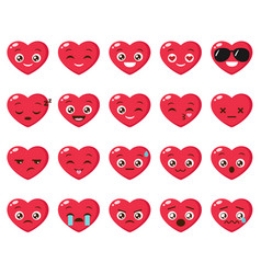 set different heart emoji vector image
