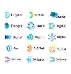 set digital logo templates creative linear vector image