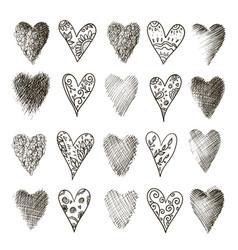 set hand drawn heart vector image