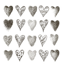 set of hand drawn heart vector image