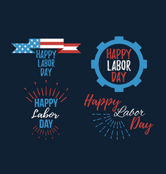 set of happy labor day banner and giftcard vector image