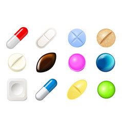 set of pills and painkiller capsules vitamin vector image