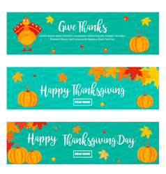 set thanksgiving banners with turkey vector image