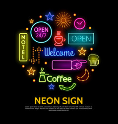 shiny neon signs round concept vector image
