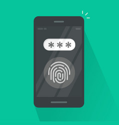 smartphone with fingerprint button and password vector image