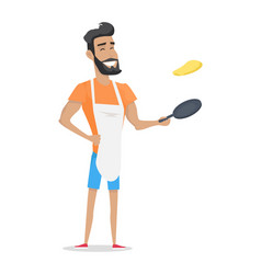 smiling man with beard cooking vector image