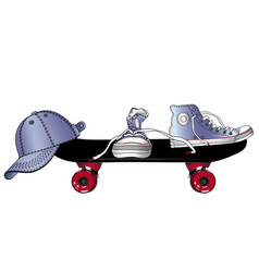Sneakers baseball cap and skateboard sports vector