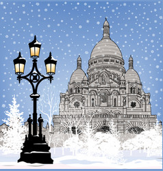 Snowy paris city landmark winter christmas vector