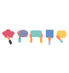 speech bubbles in hands feedback and review quotes vector image