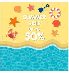 Summer sale up to 50 life holizon beach backgroun vector