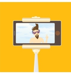 Taking Selfie Photo on Smart Phone with monopod vector image