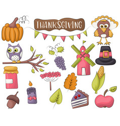 Thanksgiving holiday icon set autumn harvest vector