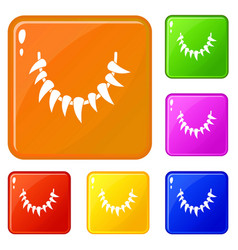 Tooth necklace icons set color vector